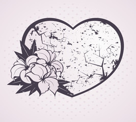 Heart with beautiful flowers