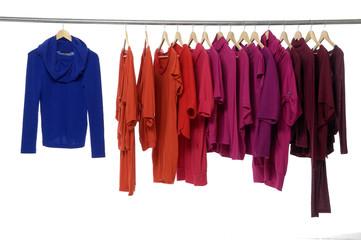 Fashion clothing hanging on hangers