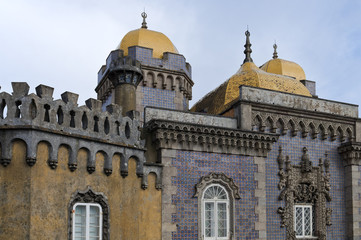 exterior view of the famous pena palace in sintra
