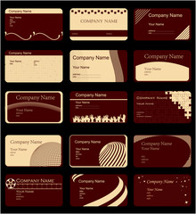 variety of 15 horizontal business cards on different topics