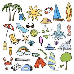 vacation on sea color vector set