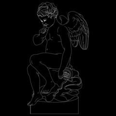 boy with wings - statue, vector