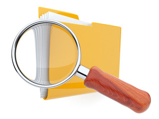 Folders and magnifying glass. File search. 3D isolated