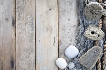 Cork, fishing net and rope