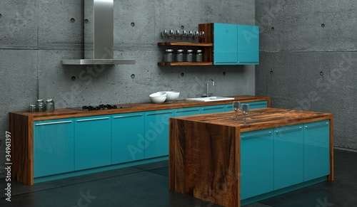 Küche Blau | Kuchendesign Kuche Blau Vor Betonwand Stockfotos Und Lizenzfreie