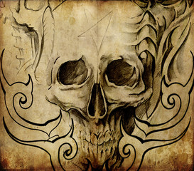 Wall Mural - Tattoo art, sketch of skull with tribal designs