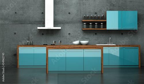 Kuchendesign Kuche Blau Vor Betonwand 2 Stockfotos Und
