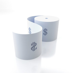 Toilet paper with the signs of dollar
