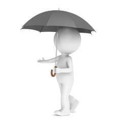 3D little human character with an Umbrella. People series.