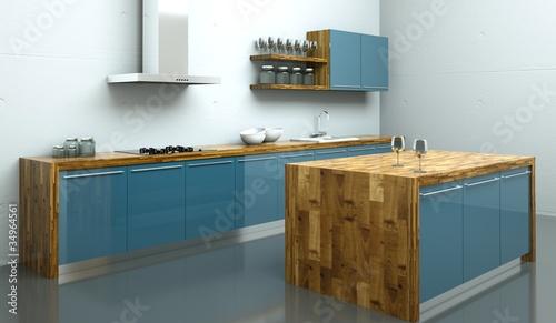 k chendesign k che blau mit holz stockfotos und lizenzfreie bilder auf bild. Black Bedroom Furniture Sets. Home Design Ideas