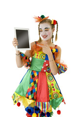 Clownette et sa tablette tactile