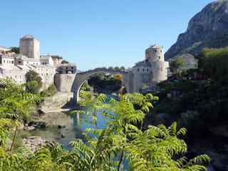 Mostar ciudad de Bosnia Herzegovina a orillas del río Neretva