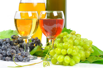 Arrangement of grapes and a glass of wine