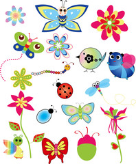 Colorful set of spring illustrations