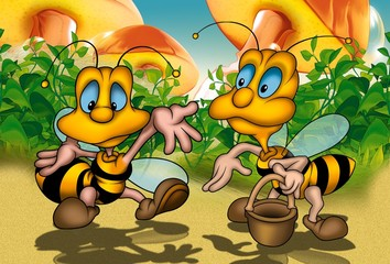 Two Bees - Cartoon Background Illustration
