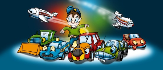 Printed roller blinds Cars Transportation - Cartoon Background Illustration