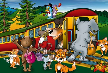 Foto auf AluDibond Vögel, Bienen Train Trip - Cartoon Background Illustration, Bitmap