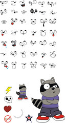 raccoon kid cartoon set4