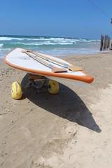 Lifeguard's Surfboard near the sea water, Herzlia beach, Israel