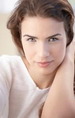 Closeup portrait of beautiful woman smiling