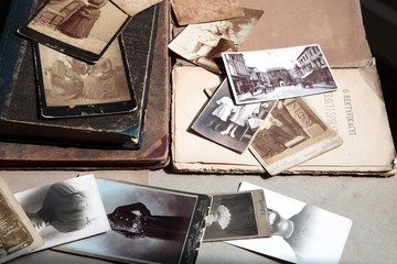 Hundred years old photos and books.