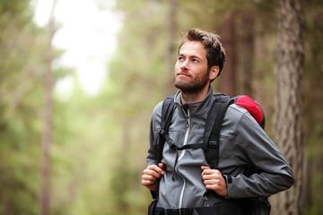Fototapeta Hiker - man hiking in forest