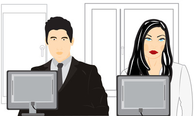 Man and woman sit for computer in office