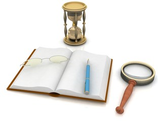 open book with a hourglass and glasses