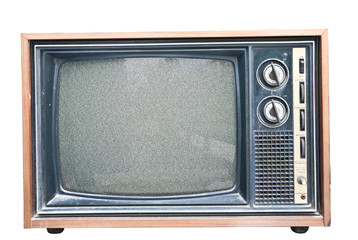 Old TV with noise on screen. Retro Television concept.