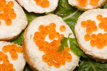 Red caviar sandwiches