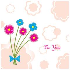 "Postcard ""Five plasticine flowers"""