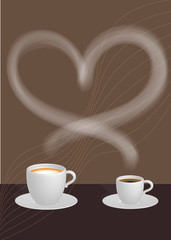 Two cups of coffee and heart