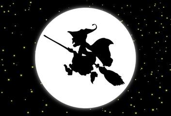 Fondo con la luna y una bruja con escoba
