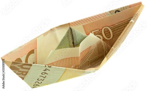 origami pliage petit bateau billet 50 euros photo. Black Bedroom Furniture Sets. Home Design Ideas