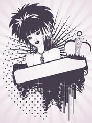 Beautiful emo girl on a grunge background