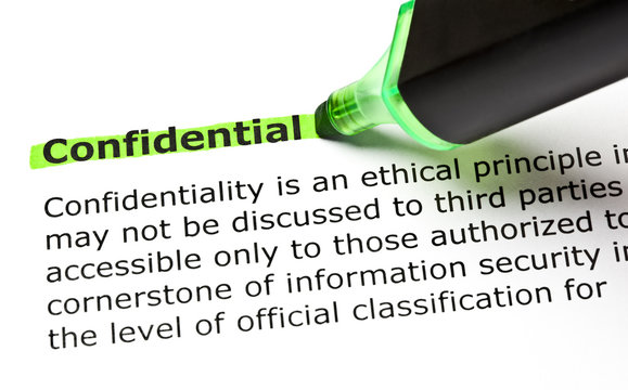 Dictionary definition of the word Confidential highlighted in green