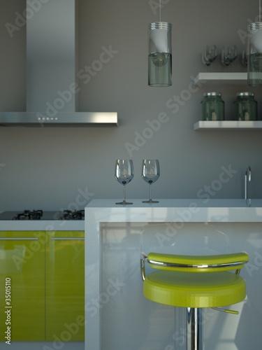 """Wohndesign - Küche grün grau"""" Stockfotos und lizenzfreie Bilder ..."""