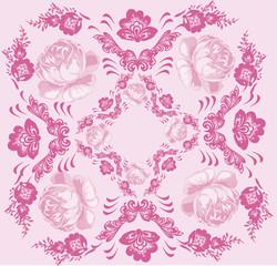 rose flower square decoration on pink