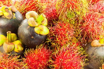 Fototapete - rambutan and mangosteen