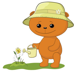 Poster Ours Teddy bear watering a flower