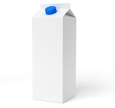Brique de lait blanche sur fond blanc 1