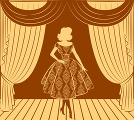 Vintage curtain with silhouette of girls.