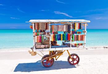 Wall Murals Caribbean Cart selling typical souvenirs on cuban beach of Varadero