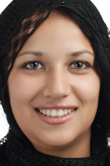 Portrait of a smiling young arabic woman