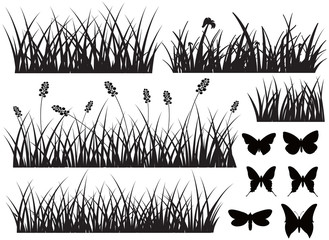 Black Grass with Butterflies Shapes