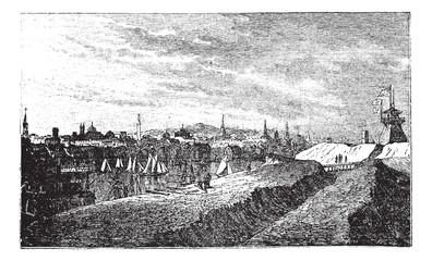 Baltimore, in Maryland, USA, during the 1890s, vintage engraving