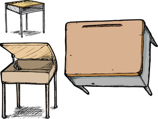 Set of School Desks