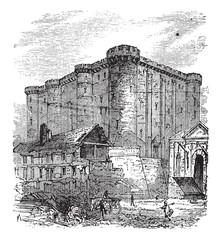 The Bastille, in Paris, France. Vintage engraving.