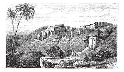 Bethlehem, city, Palestine, Israel, vintage engraving.