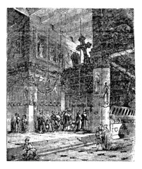 Church of the Nativity, Bethlehem, Israel, vintage engraving.